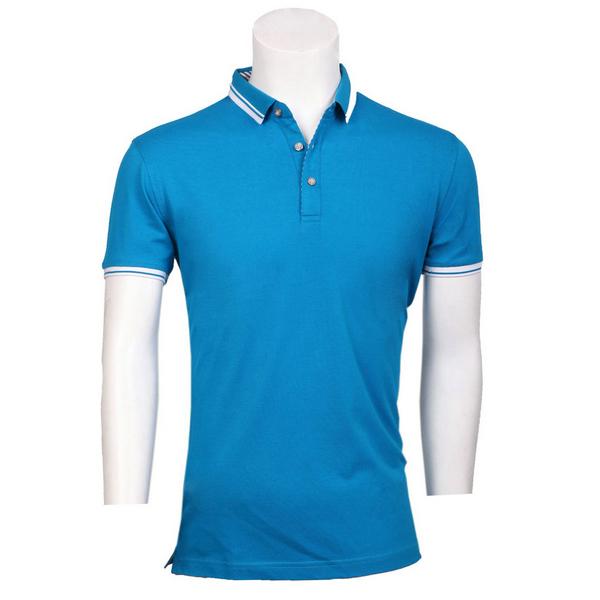 湖蓝色翻领POLO衫,POLO衫款式图片,时尚新款