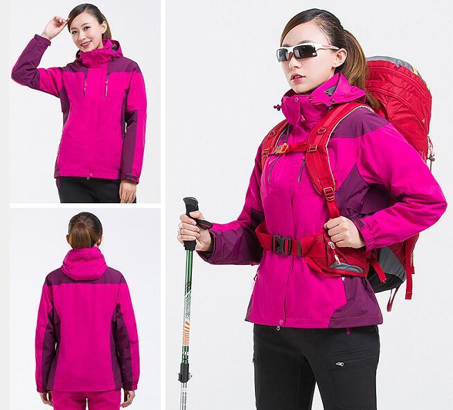 高品质三合一冲锋衣紫红色