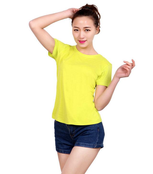订制黄色广告衫,女式文化衫定制,黄色圆领广告衫,