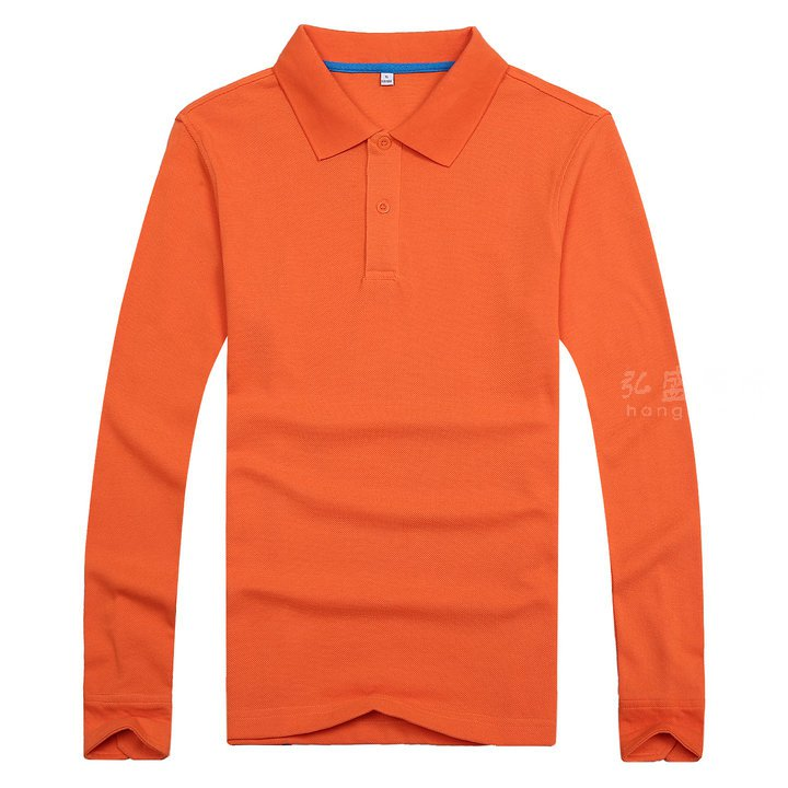 桔色长袖polo衫_订制长袖翻领T恤_橙色长袖T恤款式