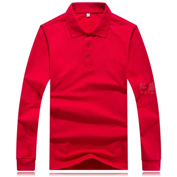 定做长袖T恤_订制翻领长袖POLO衫_红色长袖T恤
