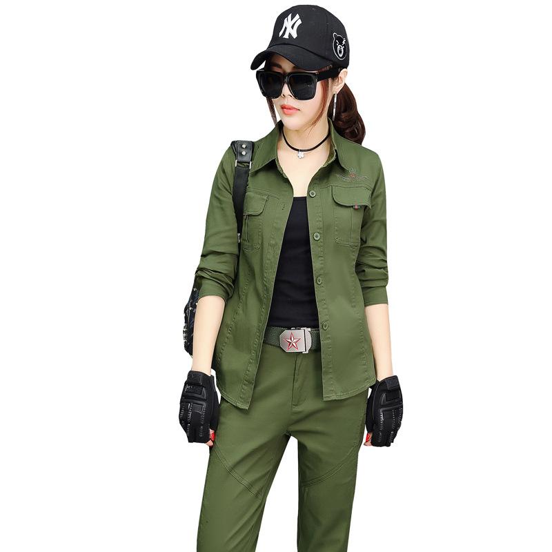 女款军绿弹力衬衫套装_休身纯棉迷彩服_可定
