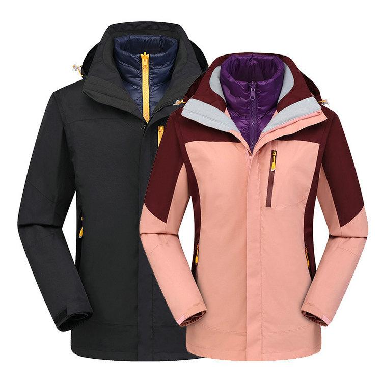 拼色三合一冲锋衣,新款羽绒内胆冲锋衣,防风保暖冲锋衣印logo